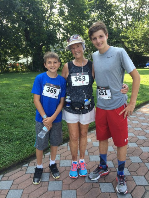 Karen with her grandsons running in a 5k road race.